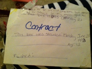 A contract I wrote at 12 promising to save all my memories.